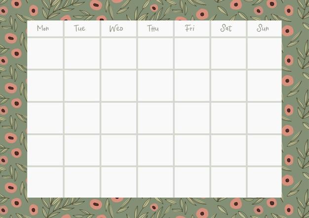 Planificador semanal floral