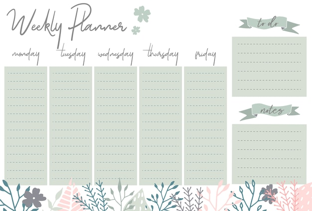 Planificador semanal con flores, organizador de papelería para planes diarios, plantilla de planificador semanal floral vector, horarios