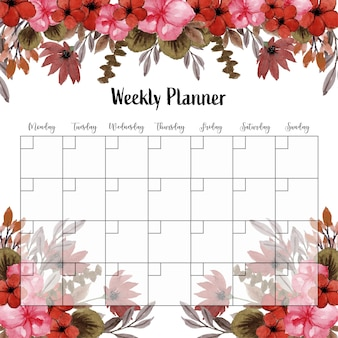 Planificador semanal con flores rojas vintage