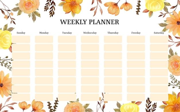 Planificador semanal con flores rústicas amarillas