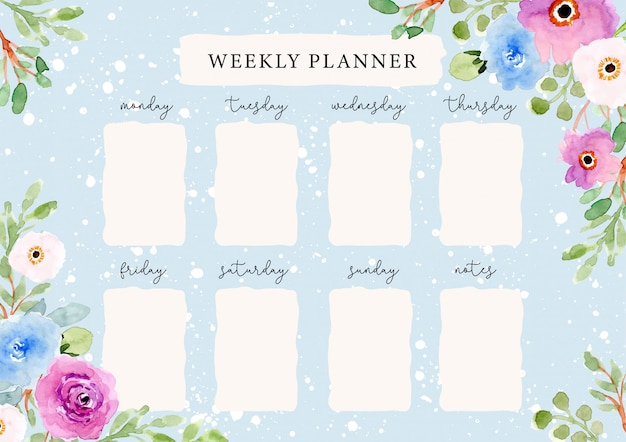 Planificador semanal con hermoso fondo floral acuarela