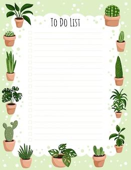 Planificador semanal hygge y lista de tareas con plantas suculentas en macetas.