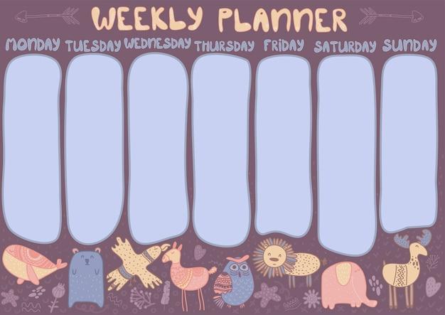 Planificador semanal infantil con animales escandinavos plantilla de diseño de horario para niños
