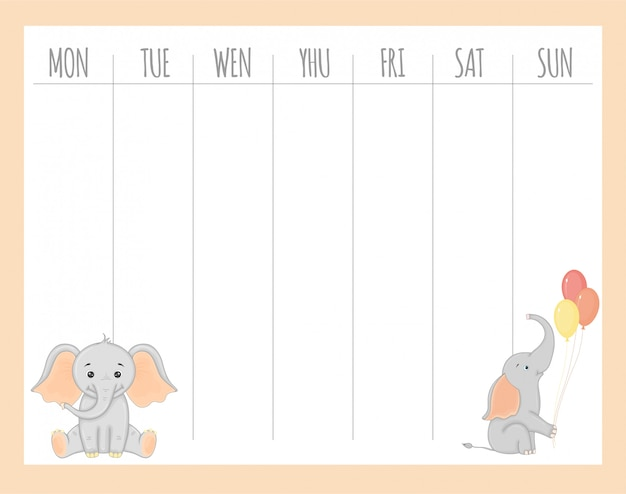 Planificador semanal infantil con elefantes, gráficos vectoriales