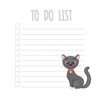 Planificador semanal infantil con gato, gráficos vectoriales.