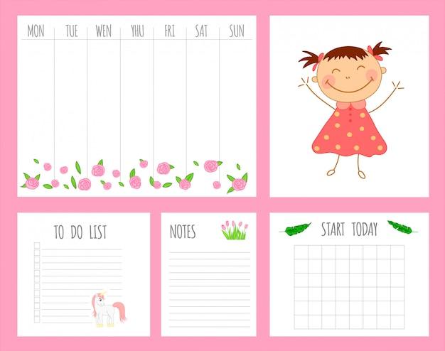 Planificador semanal infantil con niña, unicornio y flores.