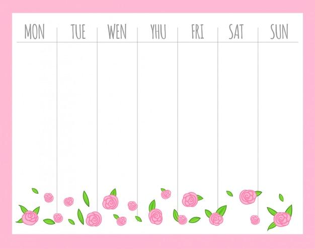 Planificador semanal infantil con rosas, gráficos vectoriales.