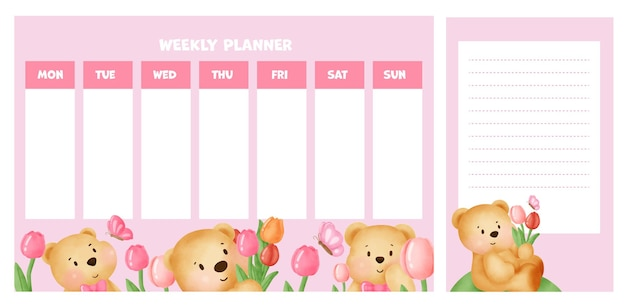 Planificador semanal con lindo oso en campo de tulipanes.