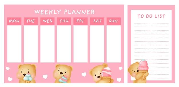 Planificador semanal con lindo oso.