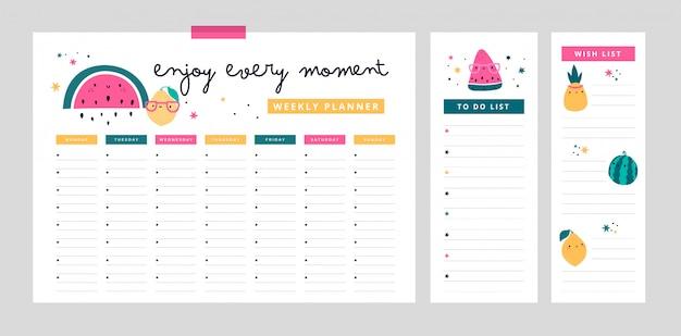 Planificador semanal, lista de deseos, lista de tareas en estilo plano de dibujos animados con frutas lindas y frase de motivación