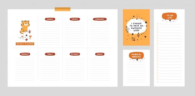 Planificador semanal, lista de deseos, lista de tareas en estilo plano de dibujos animados con tigre lindo y frase de motivación