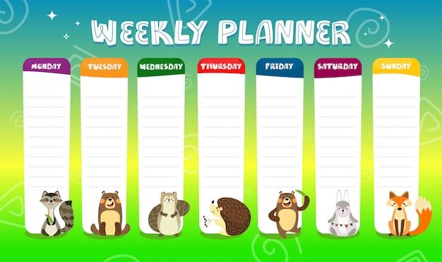 Planificador semanal para niños con lindos personajes de animales de dibujos animados. horario para la escuela primaria. plantilla de diseño de línea de tiempo para niños.