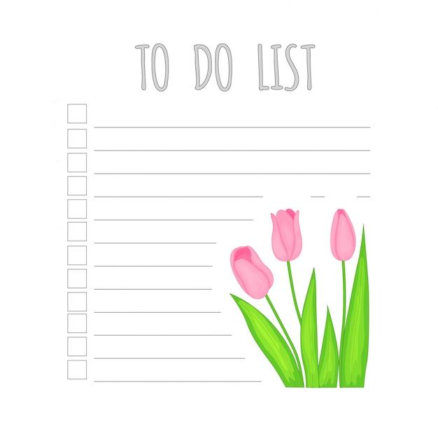 Planificador semanal para niños con tulipanes.