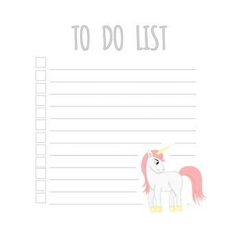 Planificador semanal para niños con unicornio.