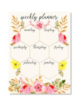Planificador semanal rosa con acuarela floral