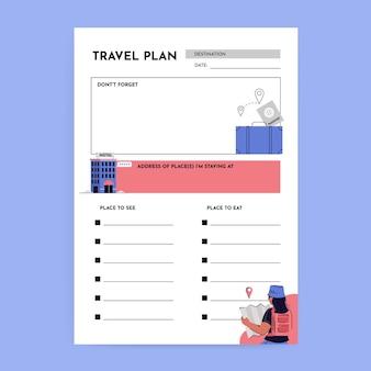 Planificador de viajes simple creativo