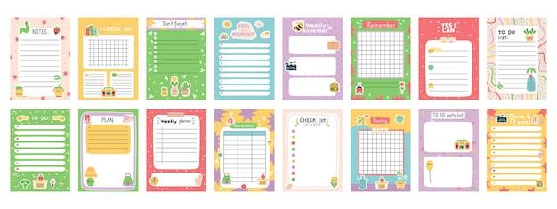 Planificadores de notas diarias. programador semanal, lista de tareas, papel de nota u hojas de organizador con conjunto de ilustraciones vectoriales de pegatinas dibujadas a mano. planificador diario lindo doodle