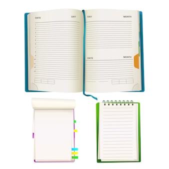 Planificadores organizadores de bloc de notas realista abierto con hojas de papel en blanco, carpetas en espiral