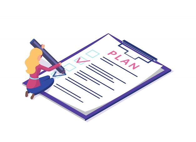 Planificar lista de verificación de documentos, planificación de escritura de mujer