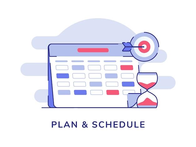 Planificar y programar el marcador de calendario objetivo de reloj de arena blanco fondo aislado