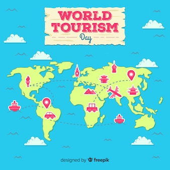 Plano 2d día mundial del turismo mapa