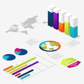 Plano 3d infografía isométrica para sus presentaciones de negocios.