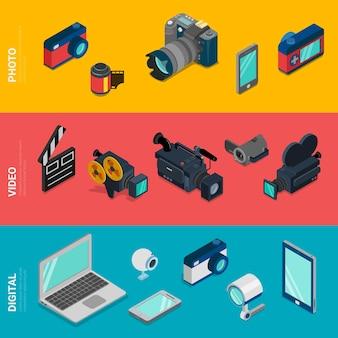 Plano 3d isométrico digital electrónica computadora foto equipo de video icono conjunto concepto
