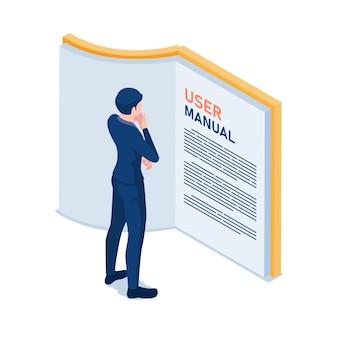 Plano 3d isométrico empresario lectura manual de usuario. concepto de manual de guía de usuario.