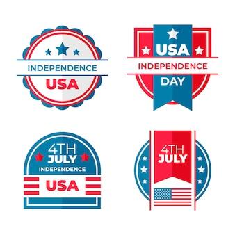 Plano 4 de julio - colección de etiquetas del día de la independencia