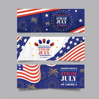 Plano 4 de julio - conjunto de banners del día de la independencia