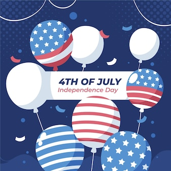 Plano 4 de julio - fondo de globos del día de la independencia