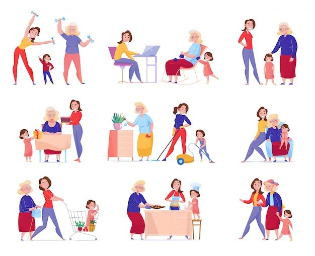 Plano aislado mujeres generación abuela madre hija conjunto de iconos con la familia en los momentos ilustración