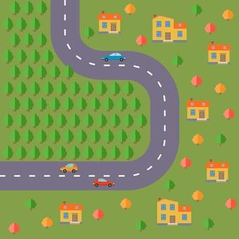 Plano de aldea. paisaje con la carretera, bosque, coches y casas. ilustración vectorial