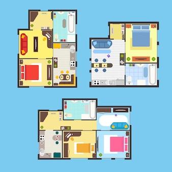 Plano de apartamento arquitectónico con muebles vista superior sobre un fondo azul.