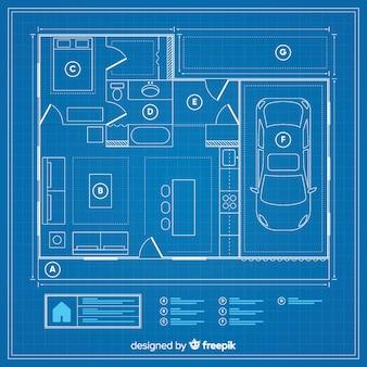 Plano de boceto de casa moderna