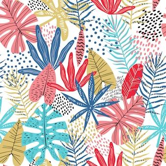 Plano brillante hojas tropicales de patrones sin fisuras