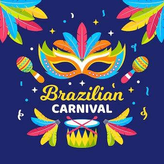Plano carnaval brasileño con máscaras e instrumentos musicales.