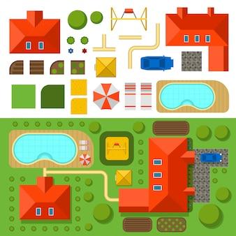 Plano de casa particular con jardín, piscina y coche, ilustración vectorial.