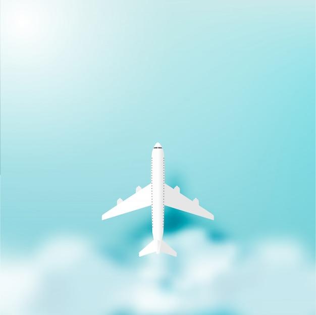 Plano en el cielo con la ilustración de vector de fondo del océano