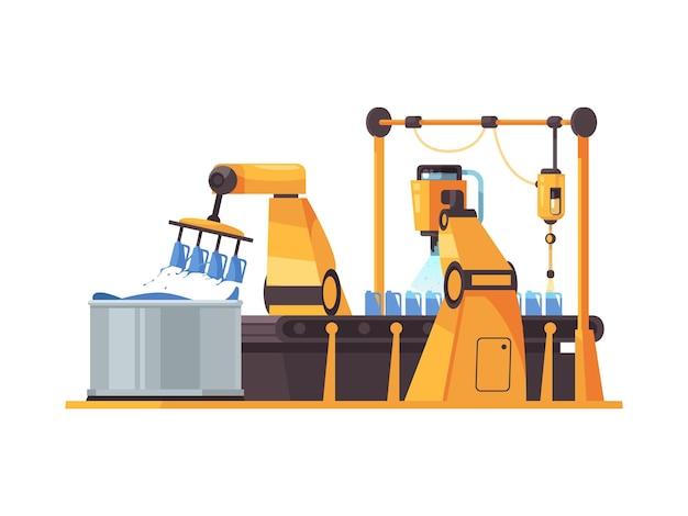 Plano de la cinta transportadora de embalaje robótica en blanco