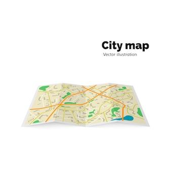 Plano de la ciudad: calles, avenida, edificios, parques. ilustración