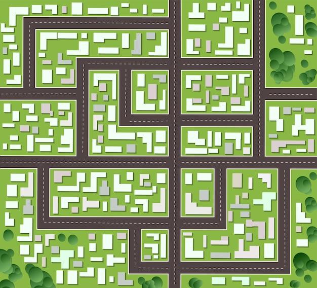Plano de la ciudad con calles y casas.