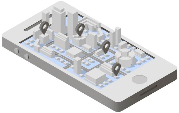Plano de la ciudad isométrica en smartphone