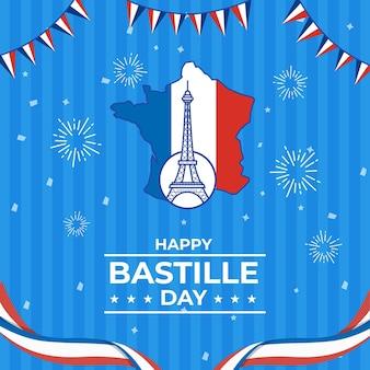 Plano del día de la bastilla francesa