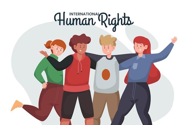 Plano día internacional de los derechos humanos con varias personas.