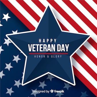 Plano día de los veteranos y bandera americana