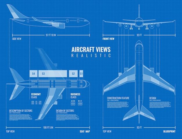 Plano de dibujo dimensionado industrial de aviación del contorno del avión vista superior lateral y frontal realista