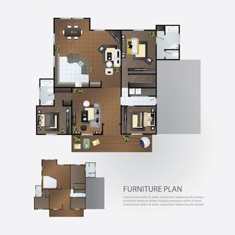 Plano de diseño interior con muebles.