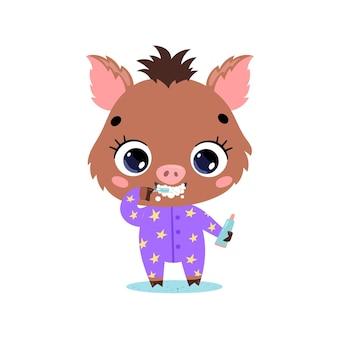 Plano doodle dibujos animados lindo bebé jabalí cerdo cepillarse los dientes. los animales se cepillan los dientes.