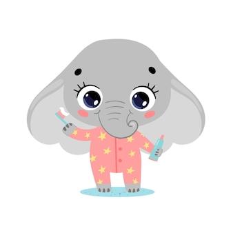 Plano doodle lindo elefante bebé de dibujos animados cepillarse los dientes. los animales se cepillan los dientes.